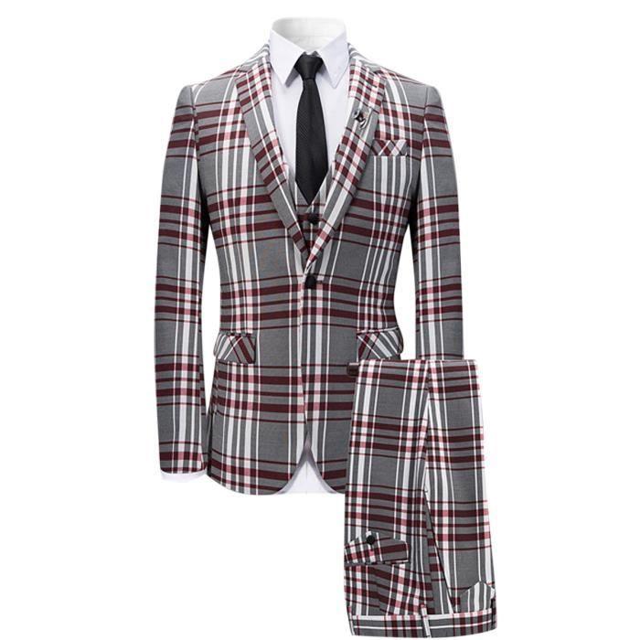f759fbd1d3f12 2017 nouveau costume de mariage homme à carreaux coupe slim skinny veste un  bouton,pantalon, gilet trois pièce design original