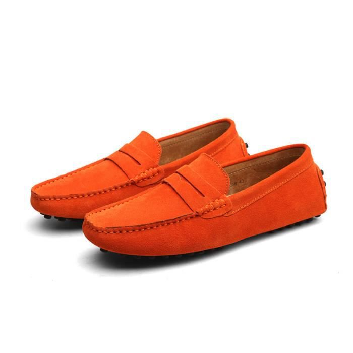 Mocassins Hommes Cuir Ultra Comfortable Appartements Chaussures CHT-XZ071Orange45