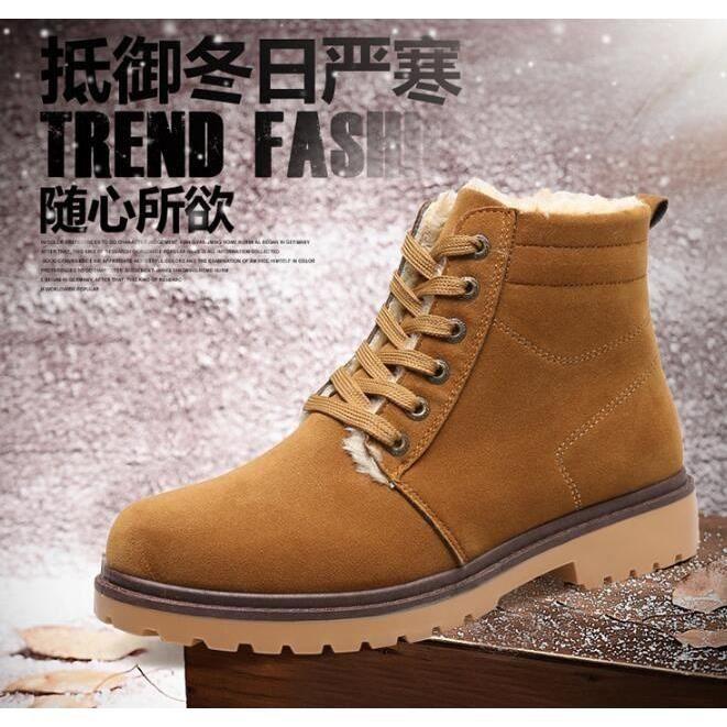 Hiver Hommes Chaussures montantes en toile Casual Boots, Hommes Chaussures Hiver en Décontractées Bottes Toile,café,42