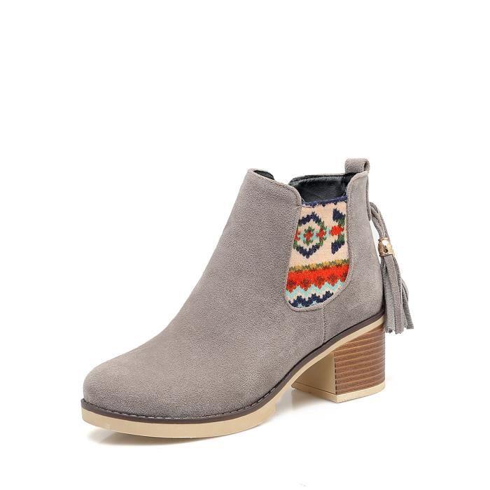Bottes de cheville de femmes de style rétro ronde Bottes en daim Toe 10303516