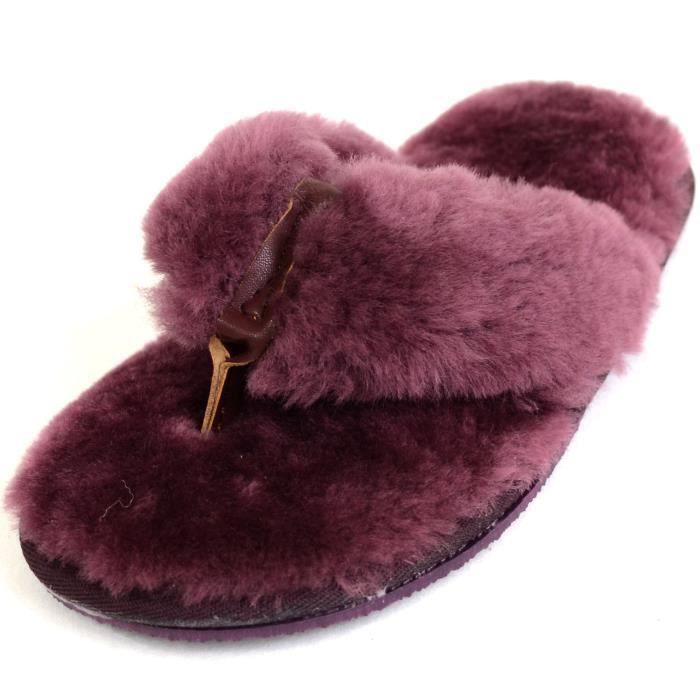 Dames de luxe en peau de mouton Flip Flop Chaussons - Sandales - String Slipper par JMCDA Taille-40 7EDE3