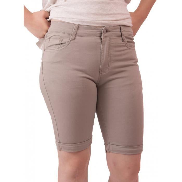Taille 36 Haute Léger En Stretch Femme Bermuda Gris Coton Jean jc4A3RqS5L