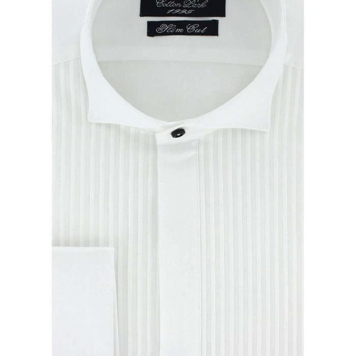 44069269e15 Cotton Park - Chemise cintrée col cassé blanche avec plastron - Homme