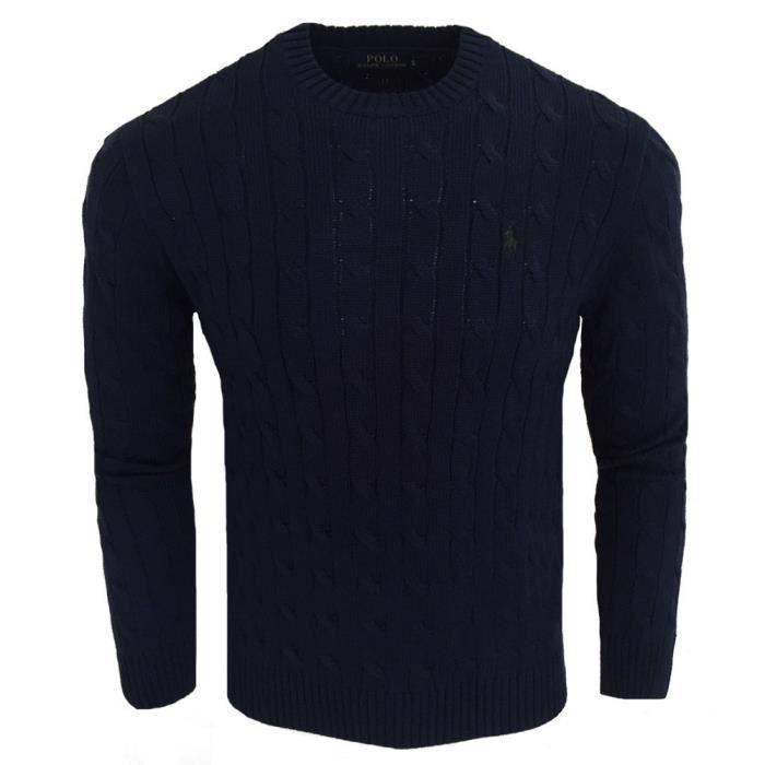 Pull Ralph Lauren maille torsadée Pull RF40 bleu marine Bleu Bleu ... 87025644304