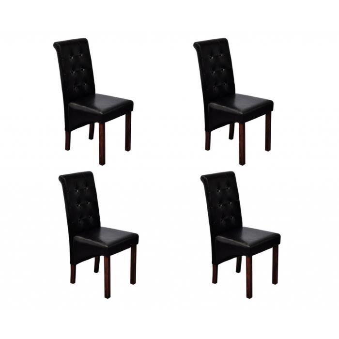 chaise antique simili cuir noir lot de 4 - Chaise Simili Cuir
