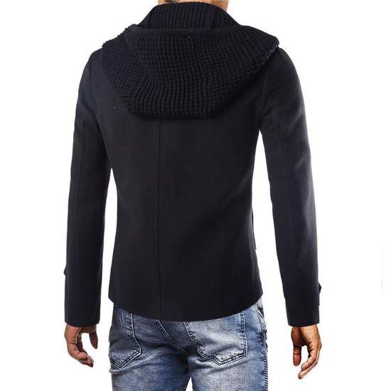 Trench Hiver Smart Button Veste Long Pardessus Outwear Noir Chaud Homme Manteaux qtUxnEY