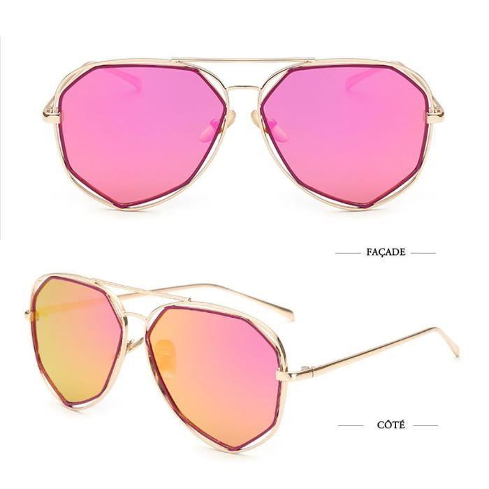 Super Lovers Moderne Cadre Polygon Lunettes Métal Lunettes de soleil lentille colorée, rose