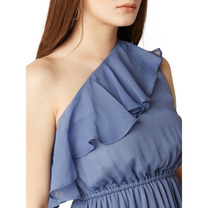 Femmes Bleu une épaule solide jabot A-Midi froncé ligne de robe RVPG9 Taille-38