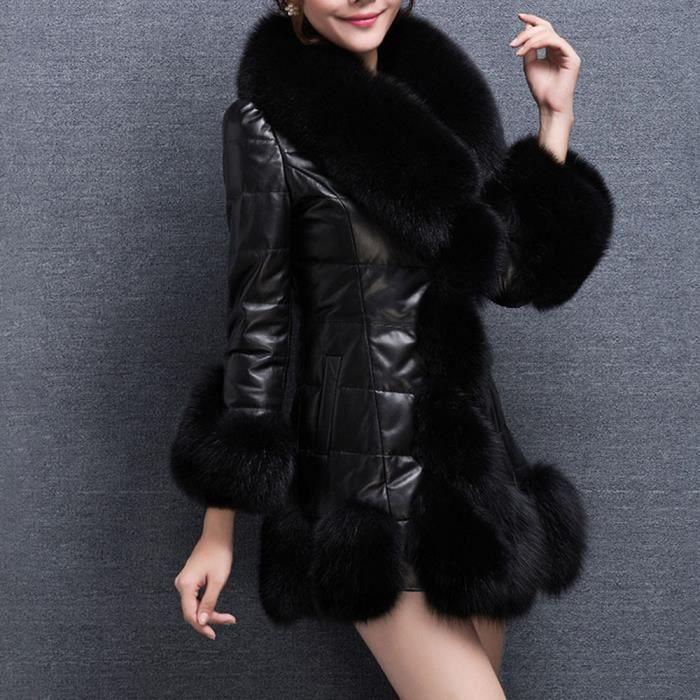 En vêtement Veste Splice Chaud noir Longue Vers Manteau Le Bas Femmes Fausse Élégante Doudoune Fourrure 8E4zqzw