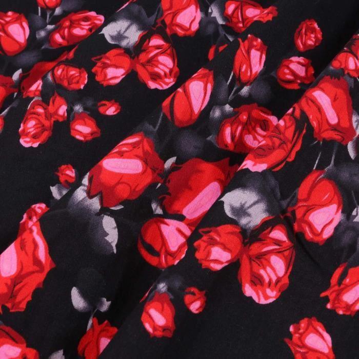 Femmes robe de soirée mode chic Casual sans manches Floral imprimé mi-mollet Cocktail Party