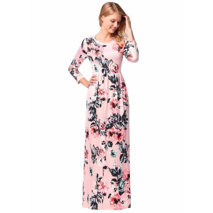 Womens Elegant Floral Print Summer Beach Long Maxi Dresses With Pockets 1UTSKF Taille-40