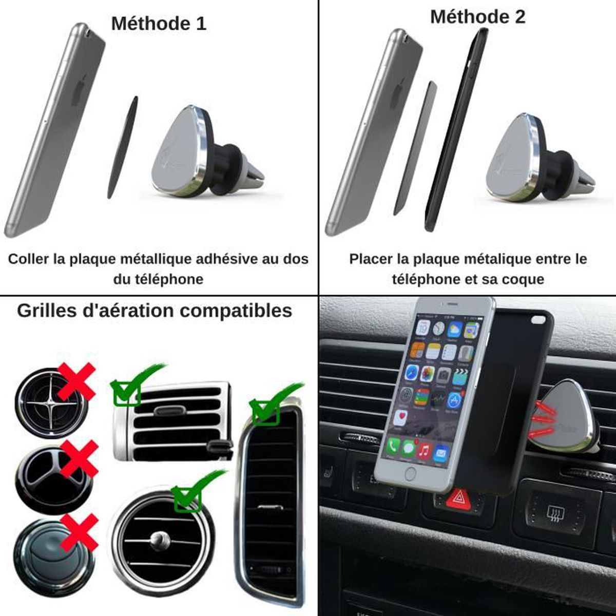 VeoPulse Support téléphone UNIVERSEL pour voiture- IPHONE SAMSUNG WIKO  HUAWEI SONY NOKIA - Porte mobile 360°- Tous smartphones - Achat fixation -  support ... fc2a3c4d5705