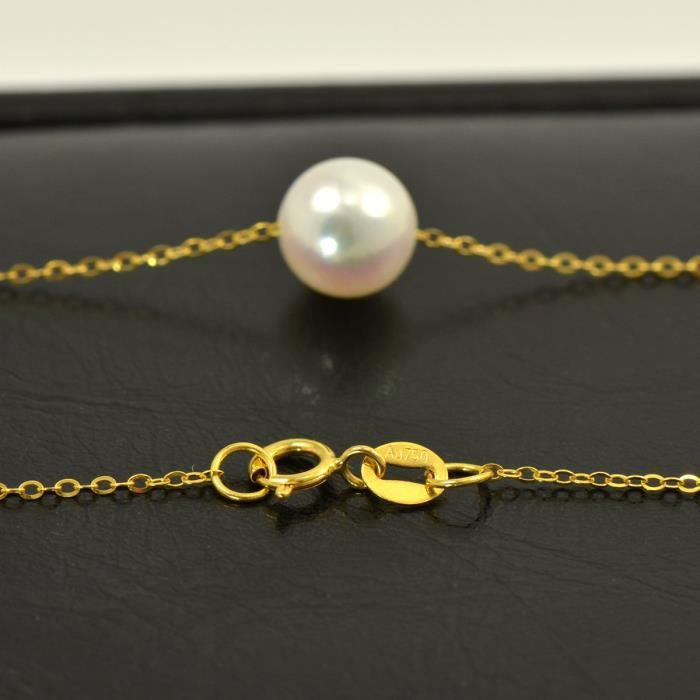 Womens Cultured Japanese Akoya Pearl On 18k Yellow Gold Skinny Chain Necklace OU439