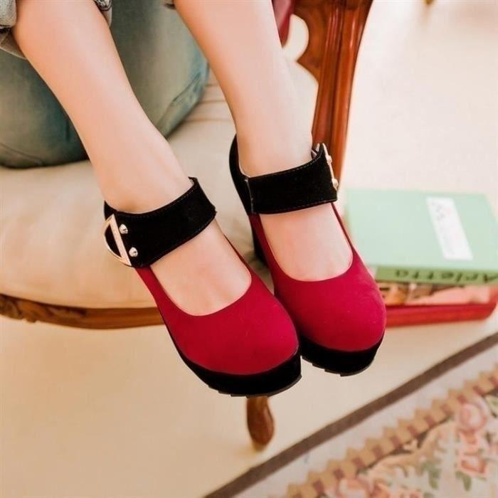 Sandales femme nouvelle plate-forme haut talon Candy coin de couleur