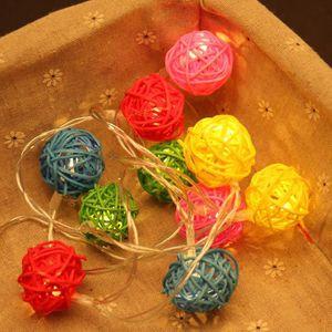 BOULE A FACETTES 10 LED couleur rotin boule feux de fées de la chaî
