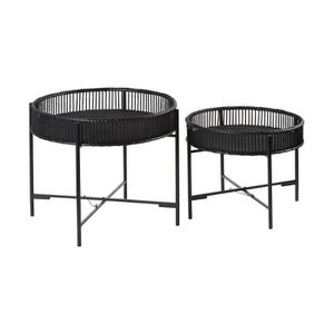 TABLE BASSE Lot de 2 tables rondes 49-60 cm avec plateau en ba