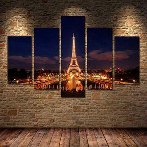 TABLEAU - TOILE 5 Panneau moderne Imprimé Tour Eiffel Paris peintu