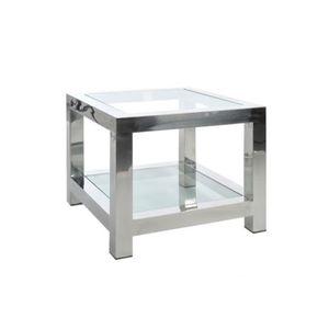 TABLE BASSE Table d'appoint en Acier Inox et Verre Argent 6…