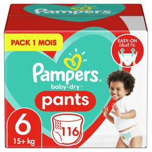 COUCHE PAMPERS Baby-Dry Pants Taille 6, 15kg+, 116 Couche