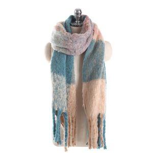 62edb3218dc0 ECHARPE - FOULARD Écharpe à carreaux oversize pour femme, bleu