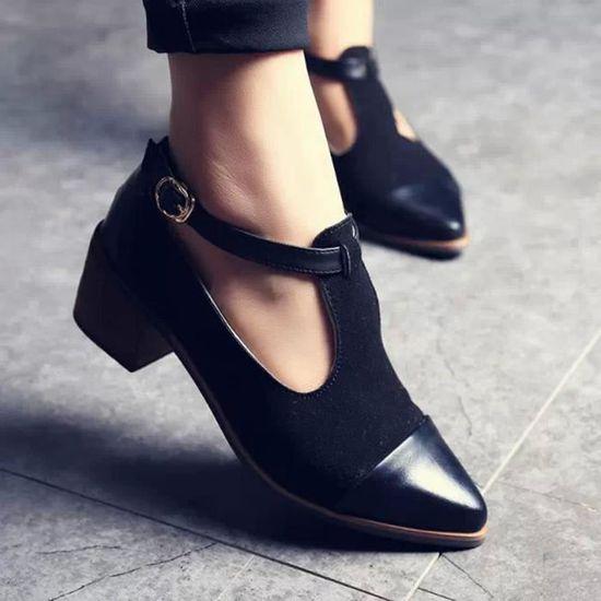Femmes Vintage bout pointu Cut talon Patchwork boucle talons hauts chaussures compensées@Noir Noir Noir - Achat / Vente escarpin
