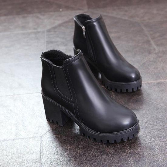 À TALONS Martin Bottes épais avec Bottes hiver de femme Zipper Martin Bottes qinhig5106 Noir Noir - Achat / Vente botte