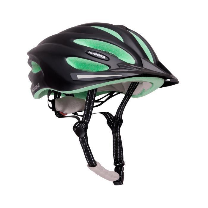 Hudora - Casque de vélo BASALT - taille 52-55 - Noir/Vert