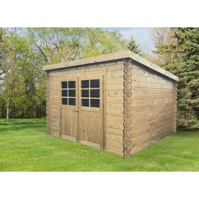 En bois, pin du nord certifié, d'une épaisseur de 28mm - Dimensions : 298x298cm pour une surface de 8,88m².ABRI DE JARDIN - CHALET