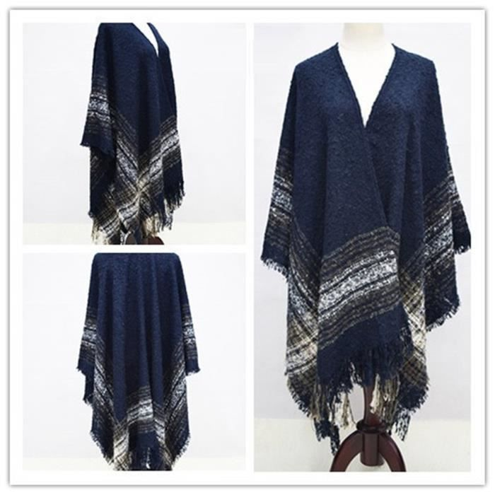 Écharpe-châle hiver plaid poncho avec franges tricot large nouveauté  Européen desigual grande 124 162cm-Bleu marin ebc99d42cbd