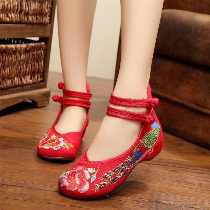 Chinois Femmes Ballerines Plates Chaussures Souple Fleur