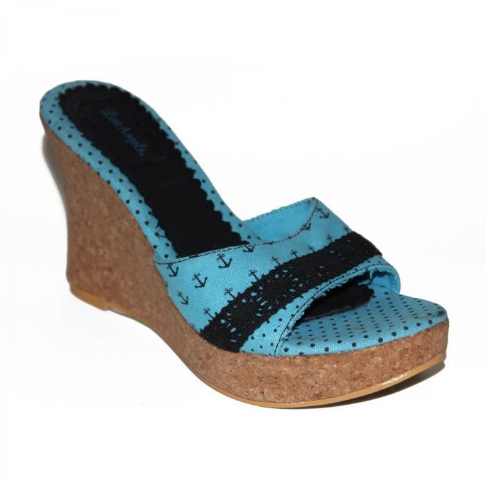 samples shoes LOST ANGELS ANCHOR STAR WEDGE TURQUOISE WOMEN
