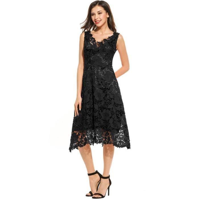 Robe de Swing Femmes Occasionnelles Sans Manches Floral dentelle V Cou Élégante demoiselle D'Honneur