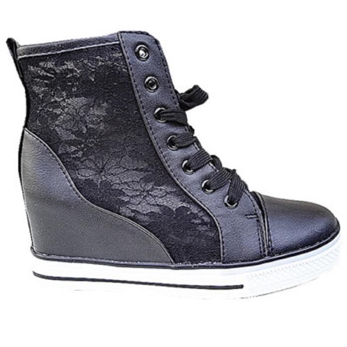 Fashionfolie888 - Basket compensées montante dentelle femme chaussure fille lacet mode Z-1 NOIR