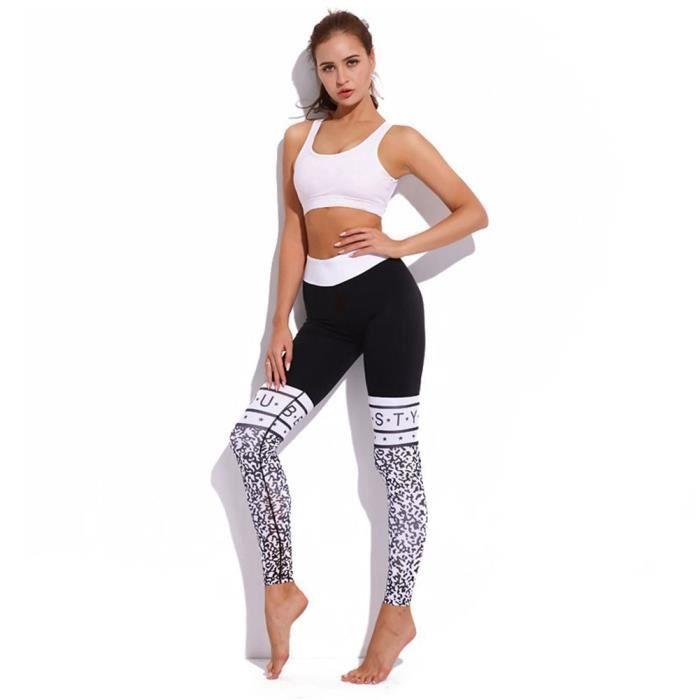 6edcd858e6950 Femmes Yoga Pantalon Noir Imprimer Lettre Taille Haute elastique Fesses  Push up Gym Workout Pantalon Leggins Sport Femmes