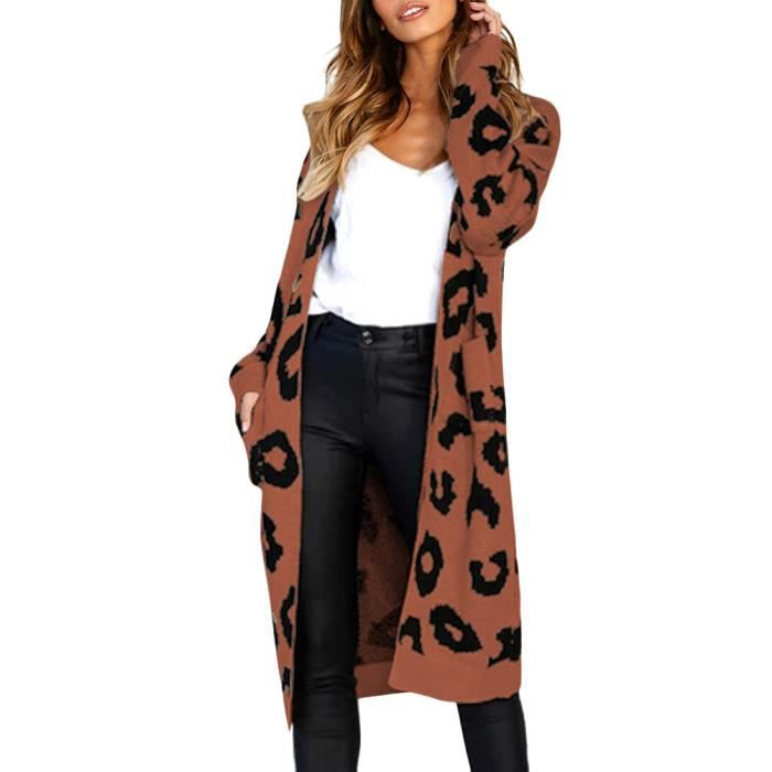 c704aff2dba Minetom Femme Long Cardigan Automne Hiver Casual Manches Longues Lâche Pull  Gilet avec Poches