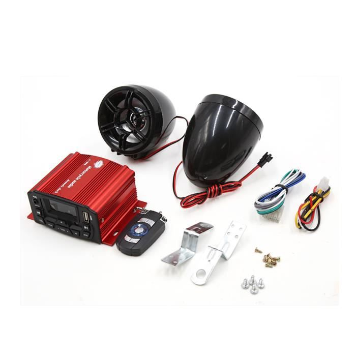 2Pcs Black Motorcycle Motorbike MP3 USB Amplifier Speaker Audio Stereo DC 12V