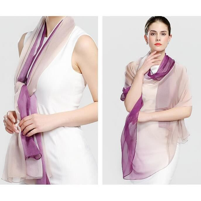 Mode Foulard en Soie pour Femme Écharpe Dégradé de Couleur Extra Longue  180x150cm violet 2d5ab9bbc03