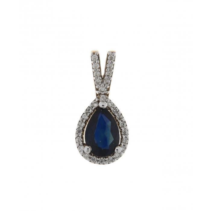 Pendentif Or 750 Saphir ref 42501 Bleu