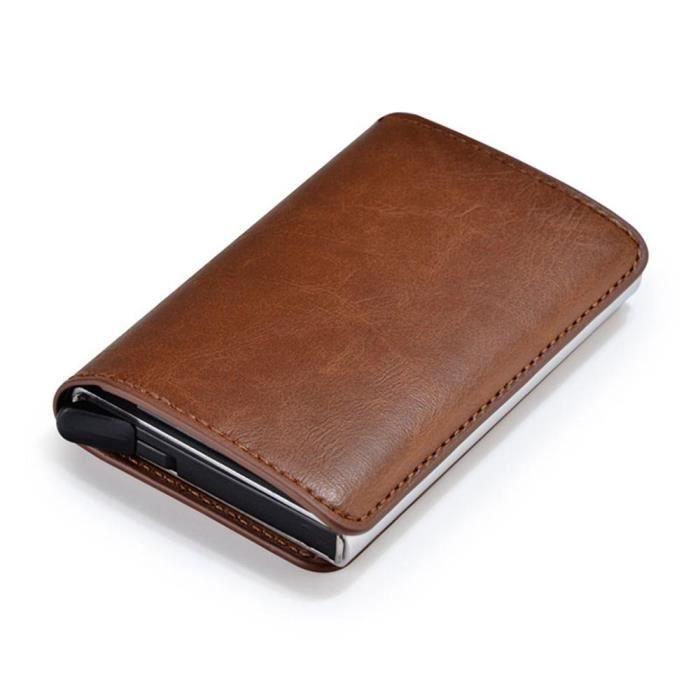50-70% de réduction sur des coups de pieds de fournir beaucoup de UMIWE Portefeuille porte-carte automatique pop-up en cuir et aluminium pour  homme femme Brun