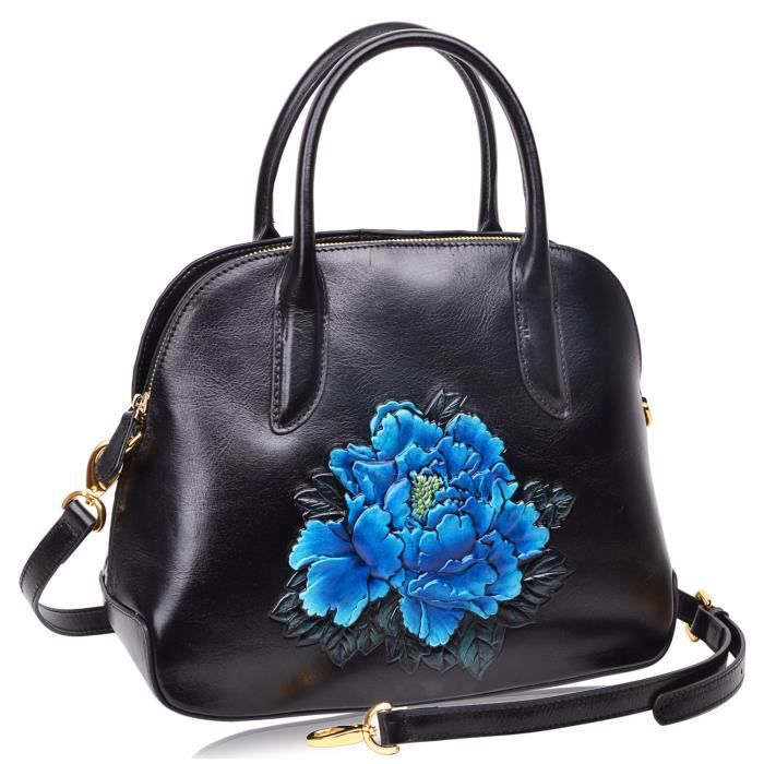 Tote Satchel Sacs à main en cuir véritable Top floral sac à poignée pour les femmes FAU05
