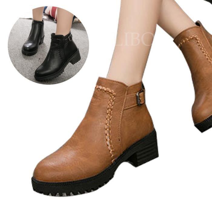 Bottes-Bottines Mode Femme Chaussures Décontractée Cuir Synthétique Bout Rond
