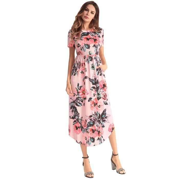 Womens Elegant Floral Print Summer Beach Long Maxi Dresses With Pockets 1IG8MZ Taille-40