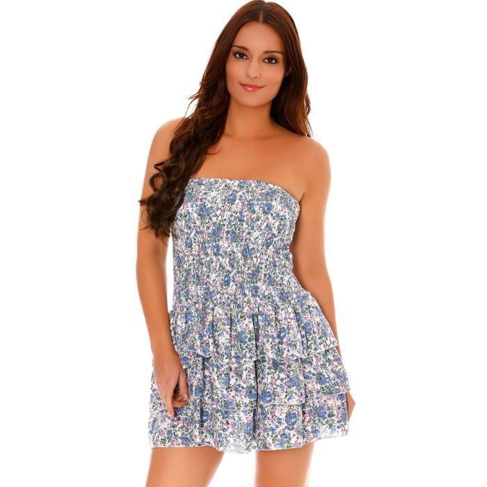 Miss Wear Line - Robe bustier courte à volantsmotif floral -