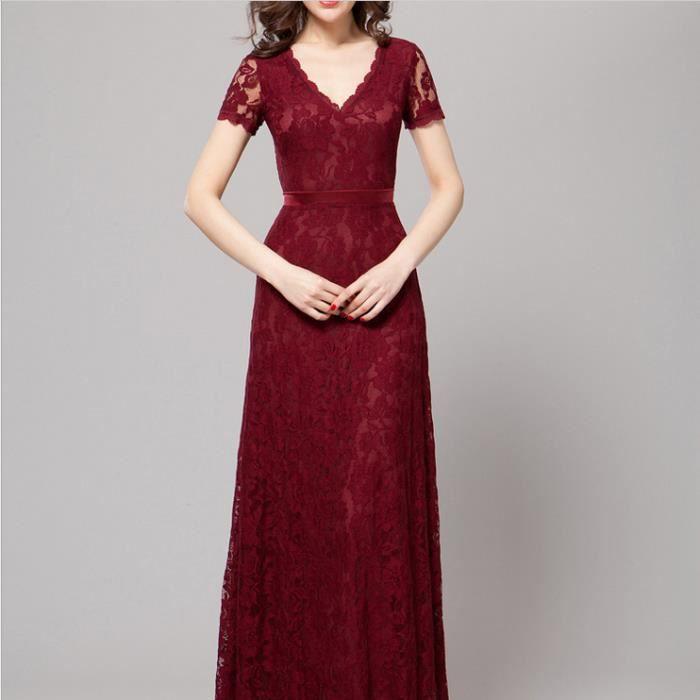 2017 nouveau vin rouge élégante mère chargée de dentelle haut de gamme V-long section toast robe de soirée
