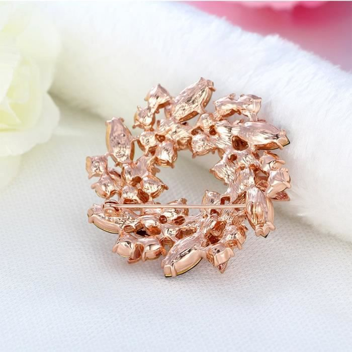 Womens Rose Gold Plated Cubic Zirconia Flower Brooch Pin ForT10GC