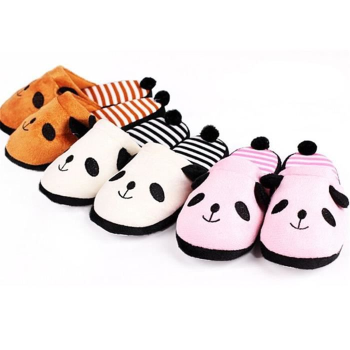 Pantoufles Cartoon Animaux Hiver Chaud Peluche Panda slippers LKG-XZ037Blanc37 ohsvz25A