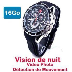 CAMÉRA MINIATURE Montre caméra espion FULL H D 16 Go V.Nuit Dét Mvt