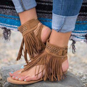 fcd9bc6dc90bb5 SANDALE - NU-PIEDS Sandales Femme Chaussures Plates Frangées Mode Bru