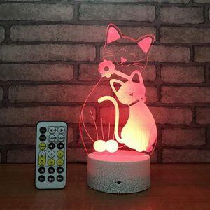 LAMPE A POSER 3D Lampe Optique Illusion Veilleuse Chat Forme 7 C