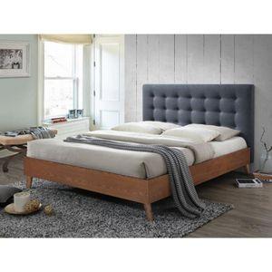 STRUCTURE DE LIT Lit FRANCESCO - 140x190cm - Tissu gris et bois
